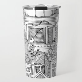 vintage halloween black white Travel Mug