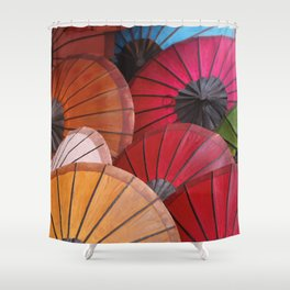 Paper Colored Umbrellas from Laos Shower Curtain