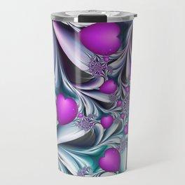 Love makes happy Fractal Art Travel Mug