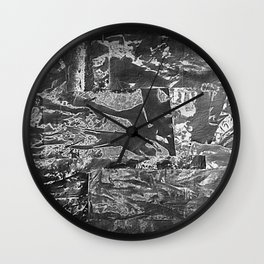 Black and White Abstract - Negative Style Random Pattern Wall Clock