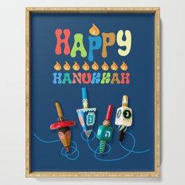 Happy Hanukkah Dreidels Serving Tray