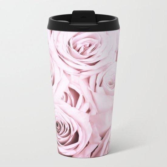 Pink Roses Flowers - Rose and flower pattern Metal Travel Mug
