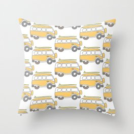 The Surf Life | Yellow Adventure Bus Throw Pillow