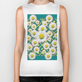 Teal Color Shasta Daisies Lime Pattern Art Abstract Biker Tank