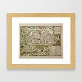 Vintage Map of Jerusalem Israel (16th Century) Framed Art Print