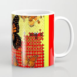 Red Abstracted Black & Orange Monarch Buttterflies Coffee Mug