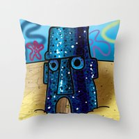 spongebob Throw Pillows featuring Spongebob by LilBroxc