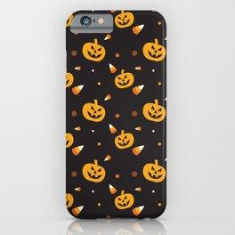 Halloween Neck Gator Jackolanterns and Candy Corn iPhone Case