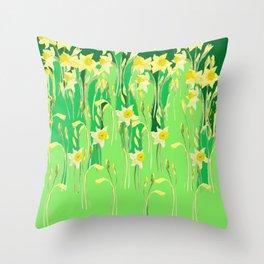 Daffodils in green Throw Pillow