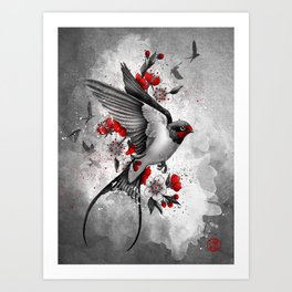 swallows and sakuras Art Print