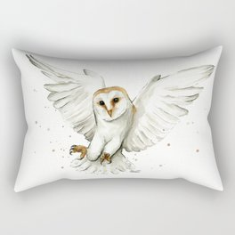 Barn Owl Flying Watercolor | Wildlife Animals Rectangular Pillow