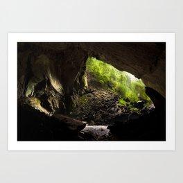 View from inside deer cave in gunung mulu national park looking outside Art Print