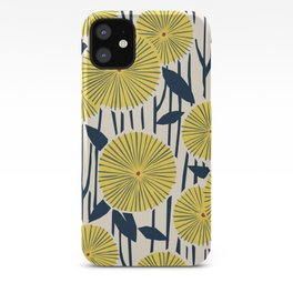 vintage, retro yellow, red and navy flower pattern iPhone Case
