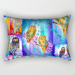 Owl with Bright Colors Rectangular Pillow