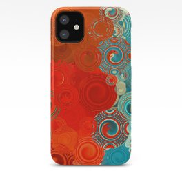 Turquoise and Red Swirls iPhone Case