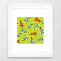 planes Framed Art Prints featuring Paper Planes by evannave