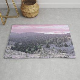 Pink Sunset on Mountains Rug