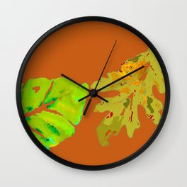 Leaves de la Autumn painting with digital frolicksomeness Wall Clock