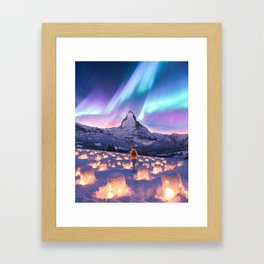 Snow Lanterns Framed Art Print