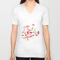 peonies V-neck T-shirts featuring Peonies by viktoria.rodek