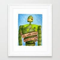 laputa Framed Art Prints featuring LAPUTA: CASTLE IN THE SKY Illustration: ROBOT by  Siân Brierley