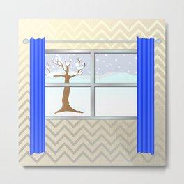 Window view in winter Metal Print