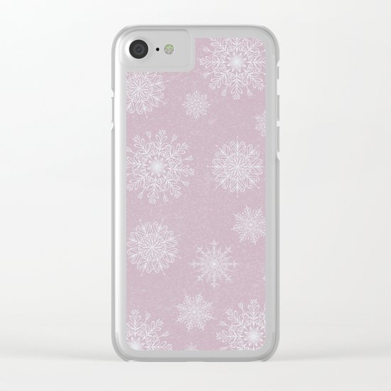 Assorted Snowflakes On Pink Backround Clear iPhone Case