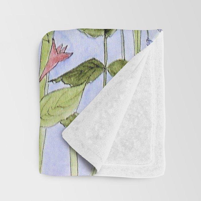 Botanical Garden Flower Wildflower Watercolor Throw Blanket