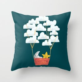 Hot cloud baloon - moon and star Throw Pillow
