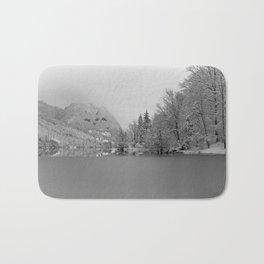 Partly Frozen Lake Bohinj Mono Bath Mat