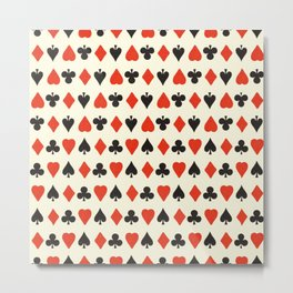 Retro pattern with card suits. Endless background of hearts, diamonds, clubs, spades hand drawn illustration Metal Print
