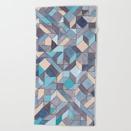 Shifitng Geometric Pattern in Blue Beach Towel