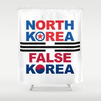 korea Shower Curtains featuring North Korea by pollylitical