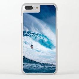 Wave and Surfer Clear iPhone Case