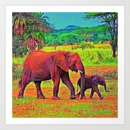 AnimalColor Elephant 003 Art Print
