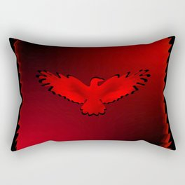 The emblem of an eagle with wings of bird in the frame. Medal with the image of an eagle on a red ba Rectangular Pillow