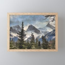 The Three Sisters - Canadian Rocky Mountains Framed Mini Art Print