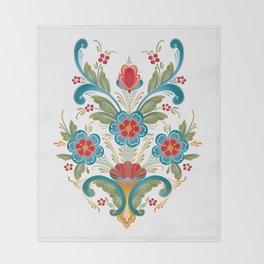 Nordic Rosemaling Throw Blanket
