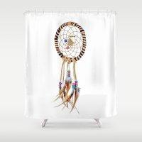 spiritual Shower Curtains featuring Spiritual Dreamcatcher by Bruce Stanfield Photographer