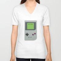 gameboy V-neck T-shirts featuring Retro Gameboy by Alex Boatman