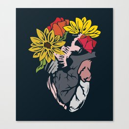 Floral Mexican Heart Canvas Print