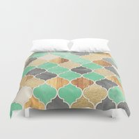 bedding Duvet Covers featuring Charcoal, Mint, Wood & Gold Moroccan Pattern by micklyn