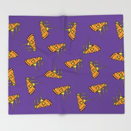 Pepperoni Pizza Dripping Cheese by the Slice Pattern (purple) Throw Blanket