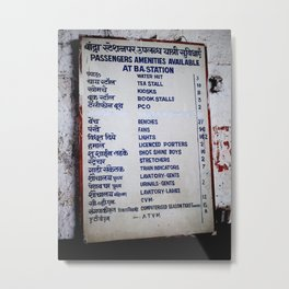 Bombay Railway Station Signboard Metal Print
