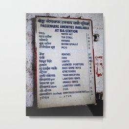 Bombay Railway Station Signboard Metal Print
