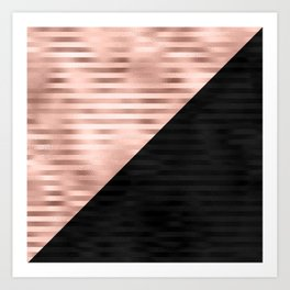 Modern Chic Pink Rose Gold Black Triangle Cut Art Print