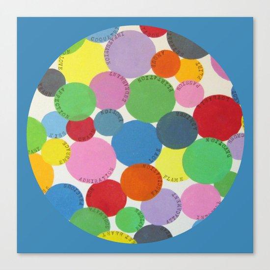 Word Bubbles Blue Canvas Print