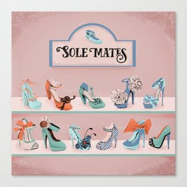 Sole Mates - shoe shop window Canvas Print