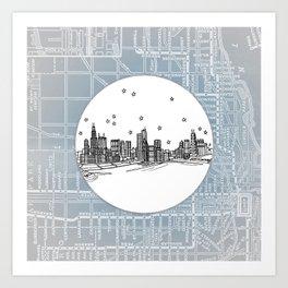 Chicago, Illinois City Skyline Illustration Drawing Art Print
