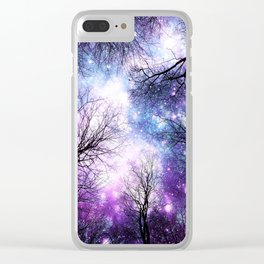 Black Trees Violet Purple Blue Space Clear iPhone Case